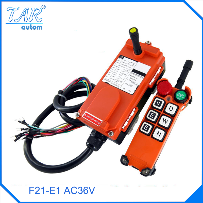 Wholesales F21 E1 Industrial Wireless Universal Radio Remote Control for Overhead Crane AC36V 1 transmitter and 1 receiver