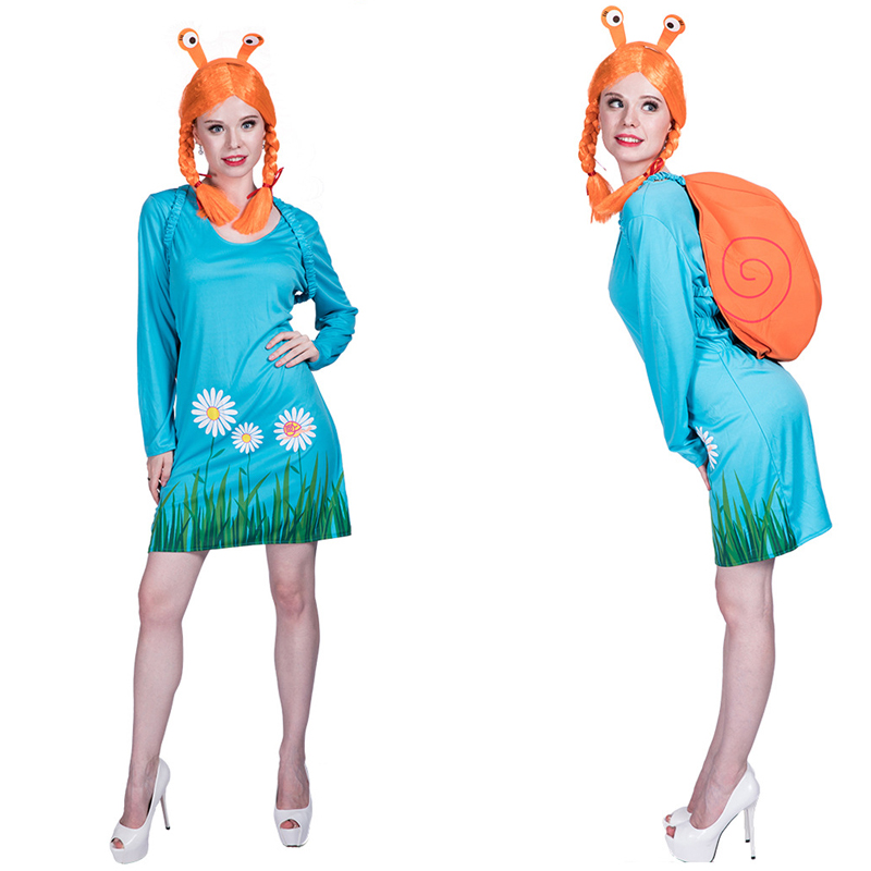 Adult women blue snail costume dress with wig backpack halloween party cosplay costume clothes for lady