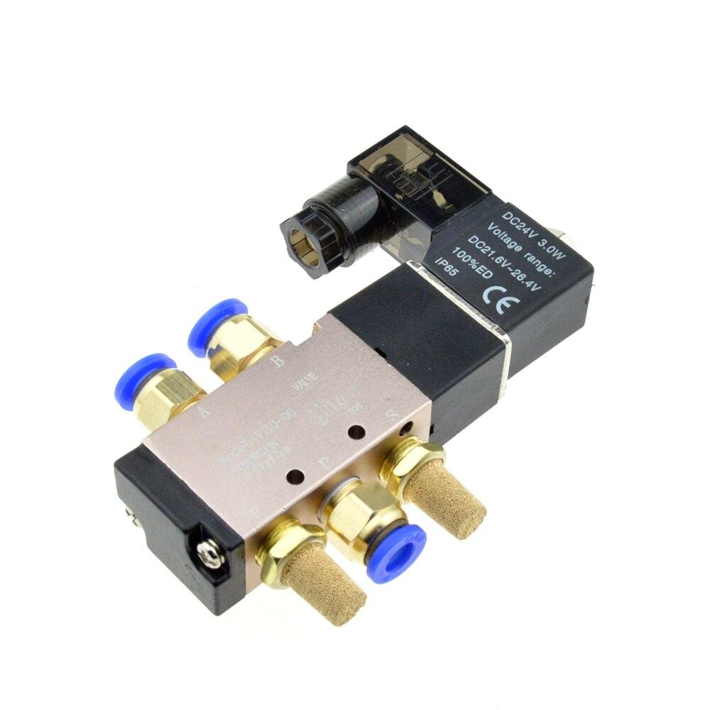 Air Solenoid Valve 5 Way Port 2 Position Gas Pneumatic Electric Magnetic Valve 12V 24V 220V Coil Volt 4mm 6mm 8mm Hose 4V110-06 dc 24v 2 port 2 way 1 2pt female thread pneumatic electric solenoid valve