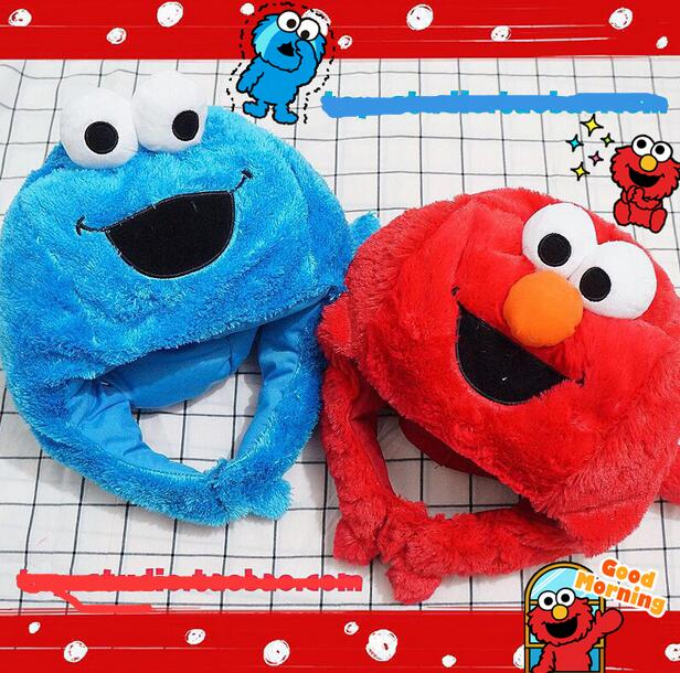 Candice Guo! Q Plush Toy Cartoon Sesame Street Elmo Cookies Head Hat Headgear Photo Props Children Kids Adult Birthday Gift 1pc Beautiful In Colour