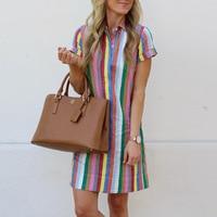 Rainbow Striped Shirt Dress Women Summer 2019 Turn Down Collar Button Short Sleeve Beach Dress Casual A Line Dresses Sundress