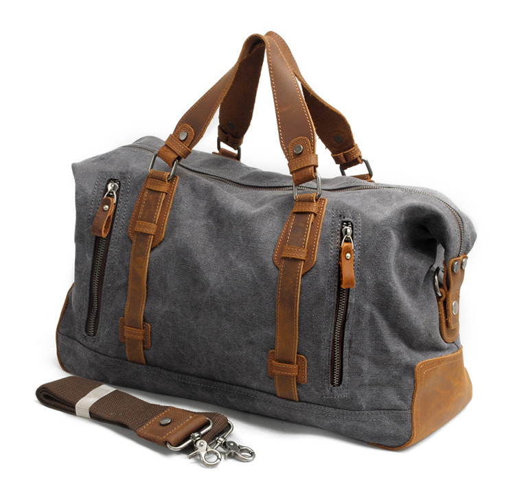 Vintage Thick Canvas Leather Luggage bag Men Travel Bags Tote Luggage Travel Bag Weekend Canvas Men