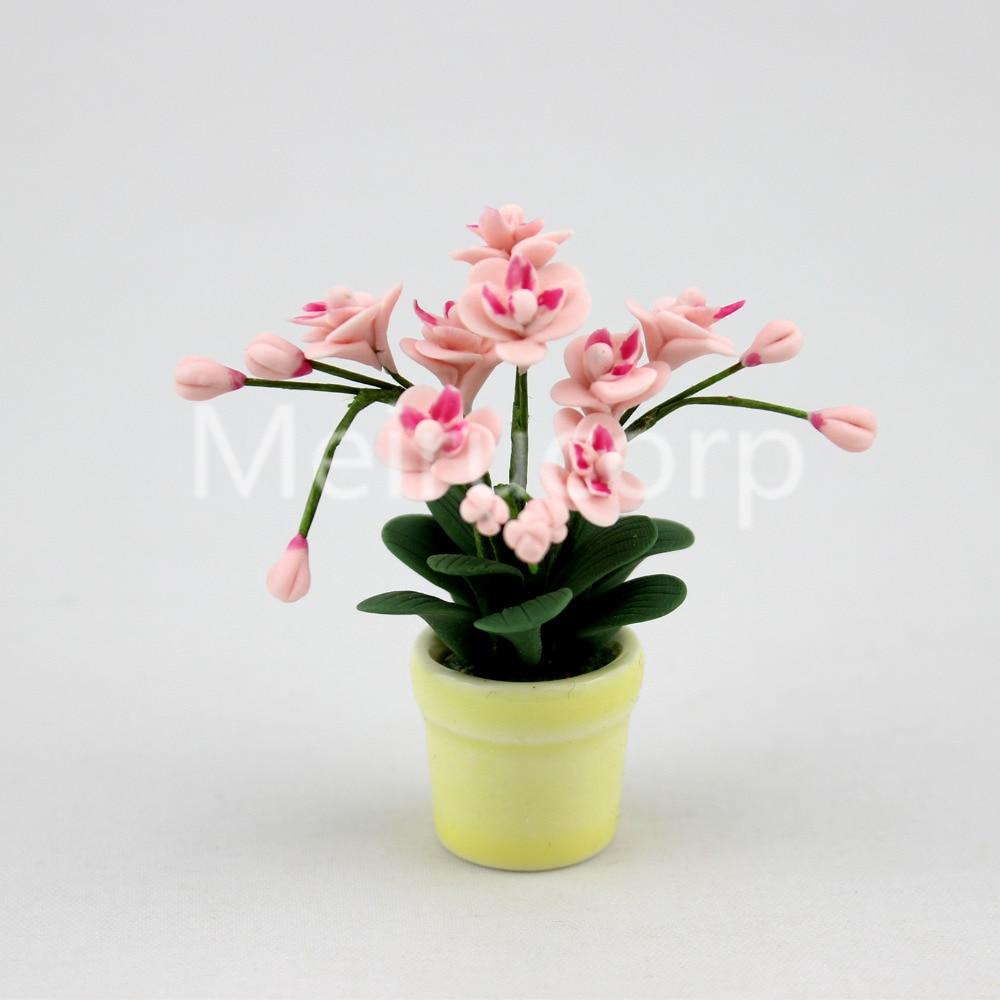 112 Scale Dollhouse Miniature Potted Pink Phalaenopsis Ceramic