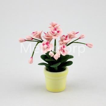 1/12 Scale Dollhouse Miniature Potted pink Phalaenopsis Ceramic flower pot 12067 1 12 dollhouse miniature potted plant ceramic pot brasiletto