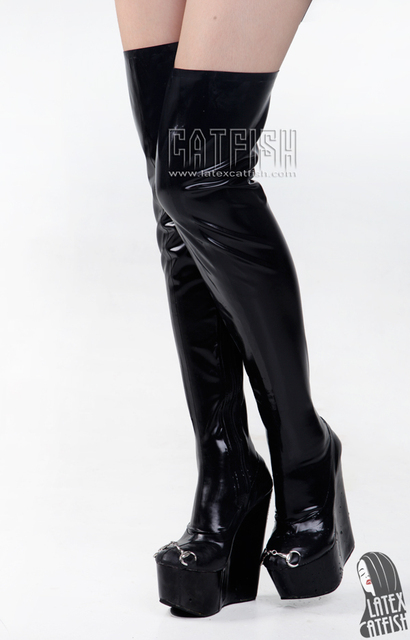 973179ea80d Free shipping Wedge heel round toe latex thigh high boots
