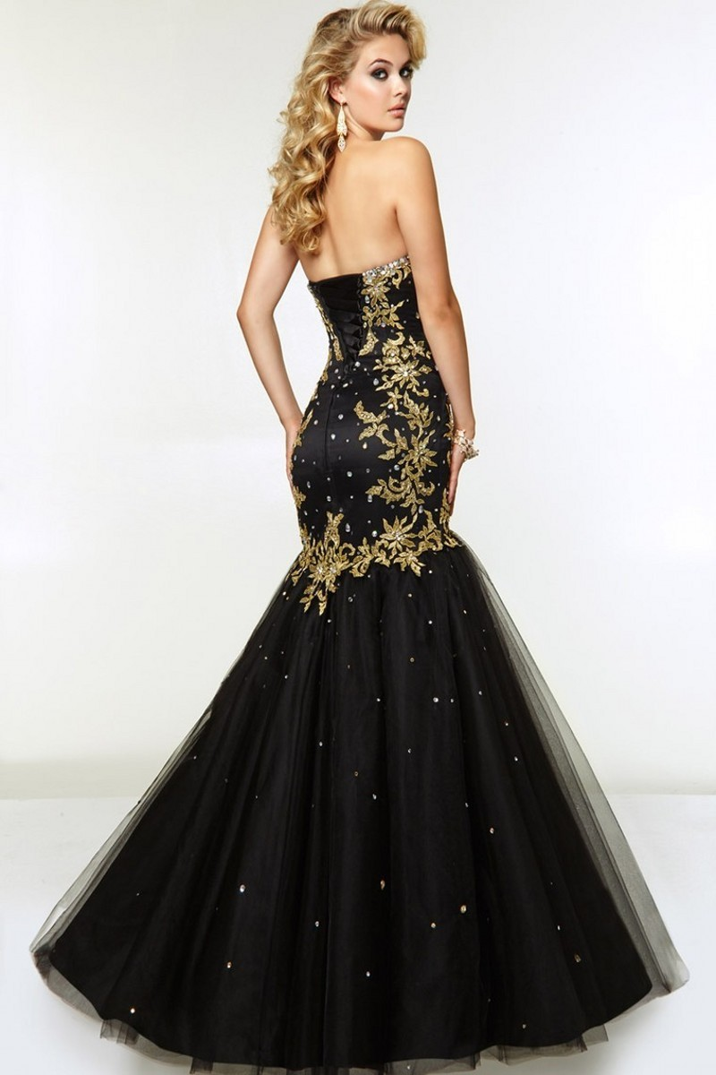 Sexy Mermaid Black And Gold Evening Dresses 2017 Strapless Beads ...