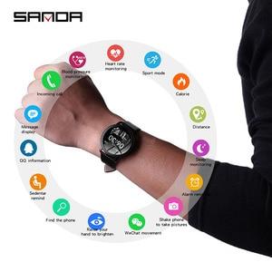 Image 2 - SANDA CF18 relojes de pulsera digitales inteligentes para hombre y mujer, reloj de pulsera Digital con control del ritmo cardíaco, llamadas y recordatorios