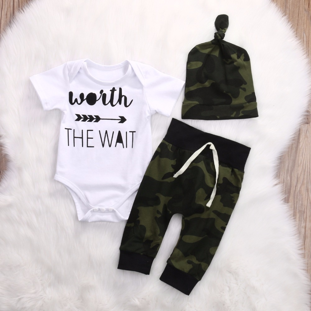 3 PCS Baby Girl Clothing Set Cotton Woith/Worth the wait Letter Printed Bodysuits+Pants+Hat Baby Clothes Set