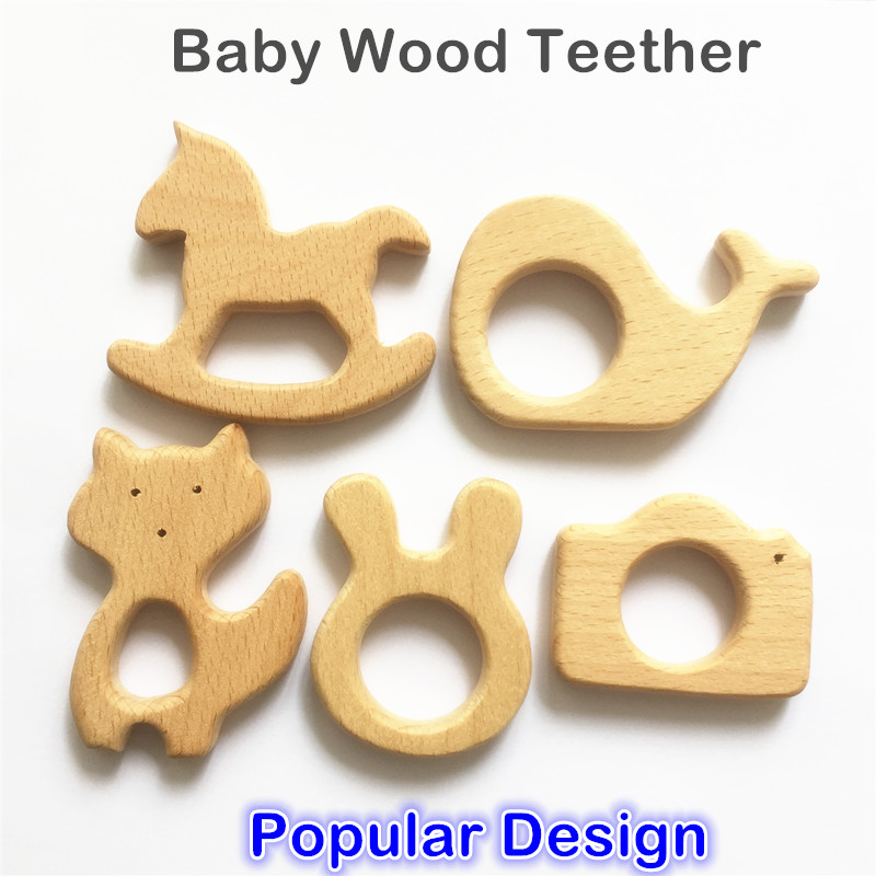 Chenkai 10pcs Wooden Teether Nature Baby Teething Grasping Toy DIY Organic Eco-friendly Wood Teething Accessories