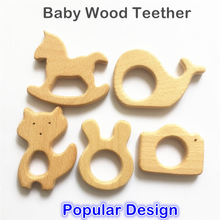 Chenkai 10pcs Wooden Teether Nature Baby Teething Grasping Toy DIY Organic Eco-friendly Wood Accessories