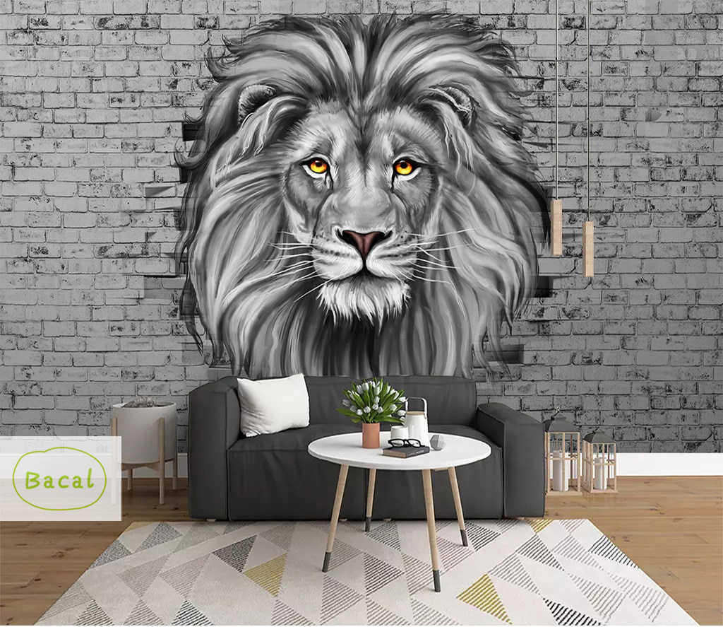 Bacal 3d Wall Panels For Living Room 5d Brick Stone Vintage Lion Wall Papers Bedroom Home Decor Wallpaper Mural Papel De Pared Wallpapers Aliexpress