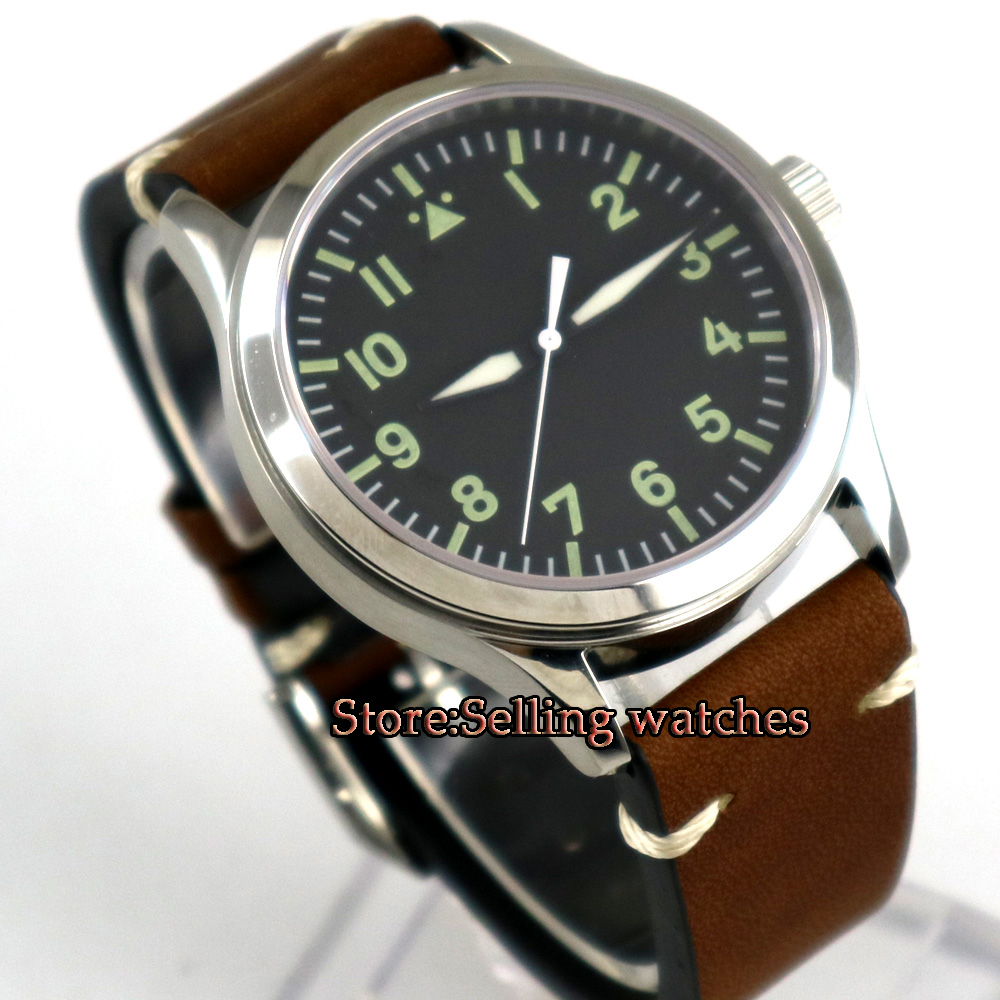 42mm Parnis black sterile dial Sapphire Glass leather strap 21 jewels miyota 8215 Automatic mens Watch цена и фото