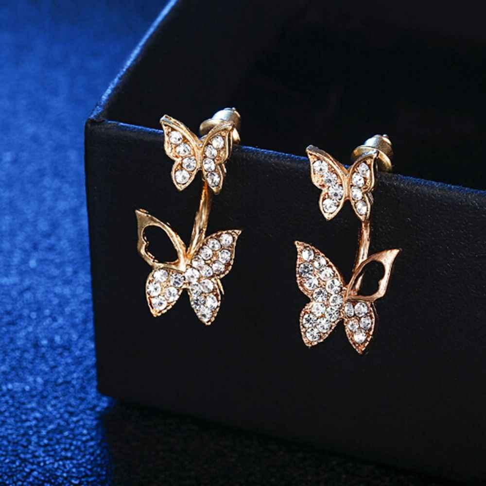 Novo Design 1 Par brincos borboleta desgaste dois brinco gota de moda Coreano temperamento brincos de jóias finas para mulheres Meninas