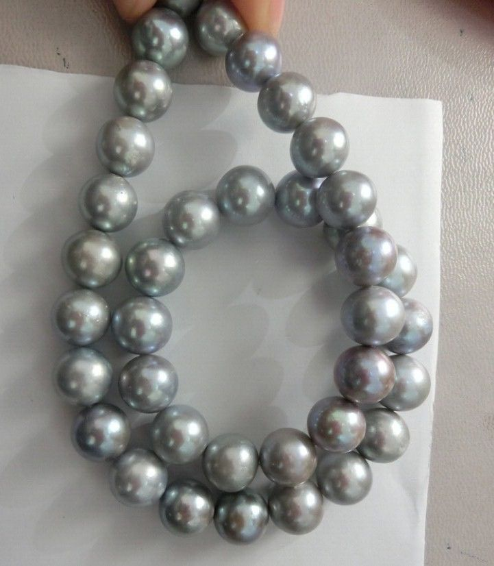 HUGE 11-12MM SOUTH SEA GENUINE GRAY PEARL NECKLACE 14KGP