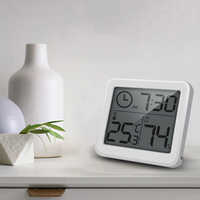 Multifunction Thermometer Hygrometer Automatic Electronic Temperature Humidity Monitor Clock 3.2inch Large LCD Screen