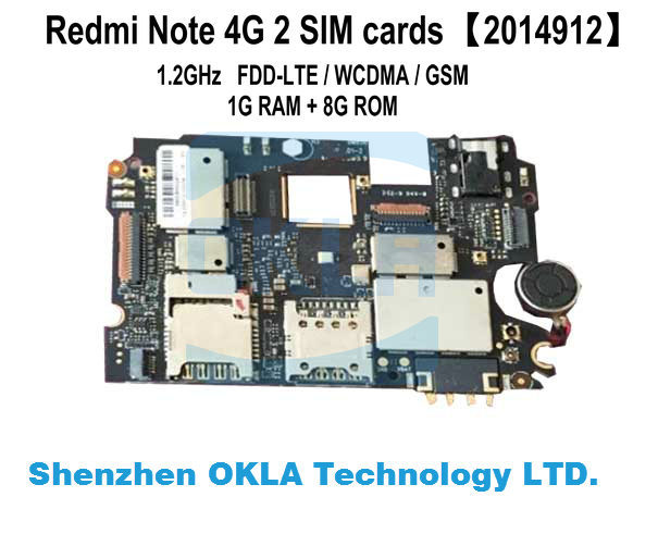 US $53 9 |1pcs 2014912 Original Used Motherboard for xiaomi redmi note 4g  FDD LTE WCDMA 1G RAM 8G ROM Mainboard-in Mobile Phone Housings from