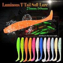 6pcs/lot  T Tail Soft Grub Glow 75mm 3g Luminous soft fishing lure Abdomen open hook Paddle Tail Soft Lure Bass Fishing bait
