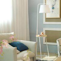 Modern Wood Floor Light For Living Room Loft Standing Lamp Fabric Lampshade Decor Home Lighting Fixtrues White Iron E27 110 240V