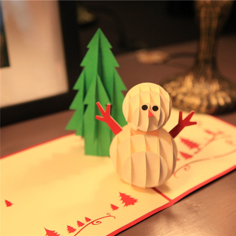 Christmas Greeting Cards Handmade.Us 3 67 Ynaayu 1pcs 3d Cute Snowman And Christmas Tree Greeting Cards Handmade Design Card Baby Bithday Card Party Supplies 15 15cm In Cards