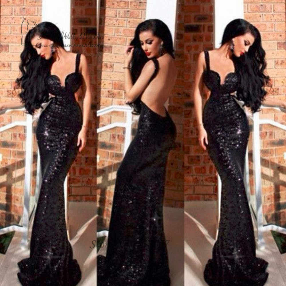 2017 Sexy Black Sequin Backless Evening Gowns Bling Long Mermaid Prom  Dresses Cheap African Courte Women 0a4fabf6c6b5