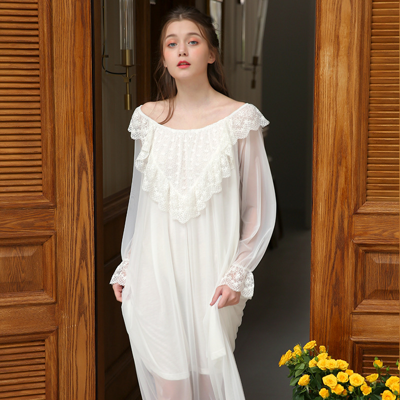 Spring summer Women Princess sexy long Modal cotton hollow long   nightgown   sleepwear   sleepshirts   female night dress 1812187