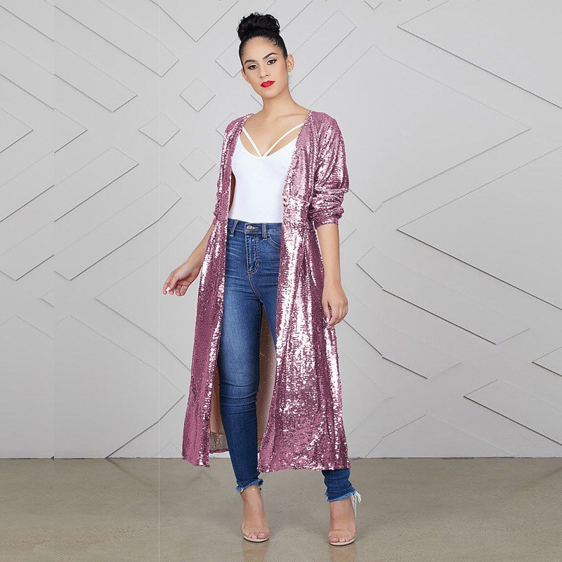 975f3043f2d Detail Feedback Questions about New Autumn Women Full Sleeve Open Stitch  Jacket Pink Sequin Cardigan Outwear Sexy Night Club Shiny Long Coats on ...