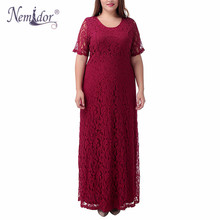Nemidor Hot Sales Women Elegant Lace Party Dress Plus Size 7XL 8XL 9XL Short Sleeve Floor