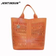 2017 Promotion Special Offer Hard Realer Hollow Ladies Leather Hobo Handbags Tote Bags Purses With Zipper For Women Handbag