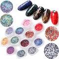 Holografico Блеск Ногтей Женщины Rhinestone Шинни Ногтей Украшения Кристалл Советы 3D Diy 12 Смешанный Цвет Дамы Макияж Блестки