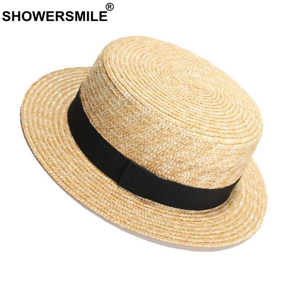 SHOWERSMILE القش قبعات من الألياف المجدولة الإناث الأحمر الشريط الشاطئ قبعة الشمس النساء أنيقة عطلة العلامة التجارية البريطانية السيدات قبعات صيفية و قبعات