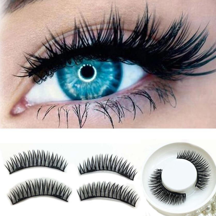 Handmade1 Pair 3D Double Magnetic False Eyelashes Lashes Reusable False Magnet Eye Lashes 2U1103
