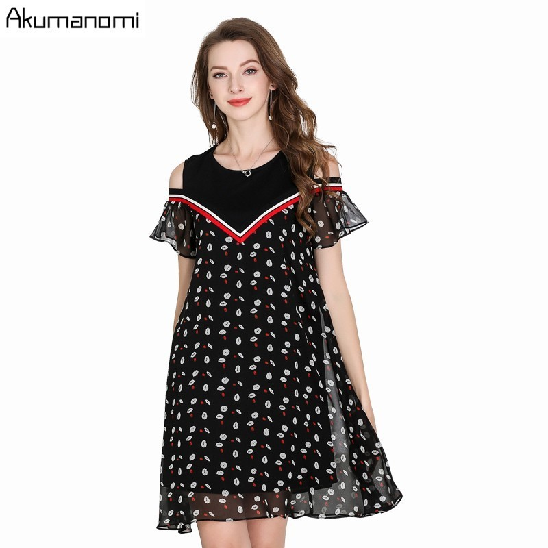 Summer Chiffon Dress Women Clothing Fake Two Pieces O-neck Hollow Out Butterfly Short Sleeve Dress Plus Size 5XL 4XL 3XL 2XL XL image