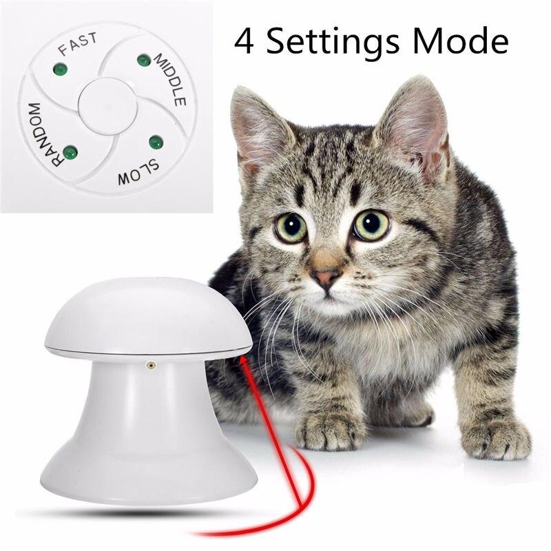 Novo chegou 360 graus automático interativo dardo laser luz exercício teaser divertido exercício pet filhote de cachorro brinquedo para gato cão engraçado