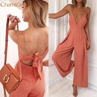 Women Causal Solid Fashion V Neck Back Bow Jumpsuit Clubwear Bodycon Playsuit Romper Mar 15