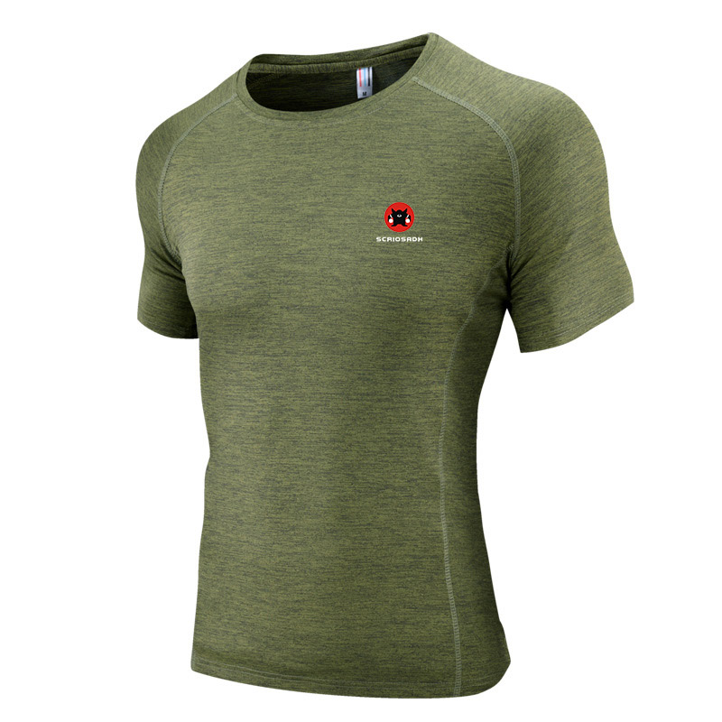 2019 Outdoor Quick-drying Elastic T-shirt Summer Breathable Sports T-shirt Men Running Fitness Sweat Releasing Quick dry Shirt