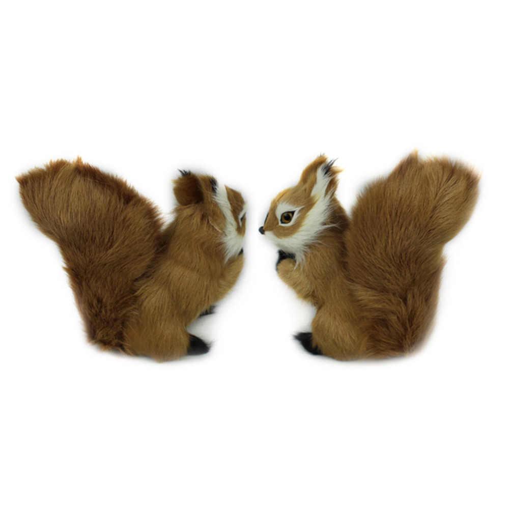 Mini juguetes de peluche simulación ardilla de peluche de felpa encantador juguete Animal niños juguete decoraciones de cumpleaños regalo