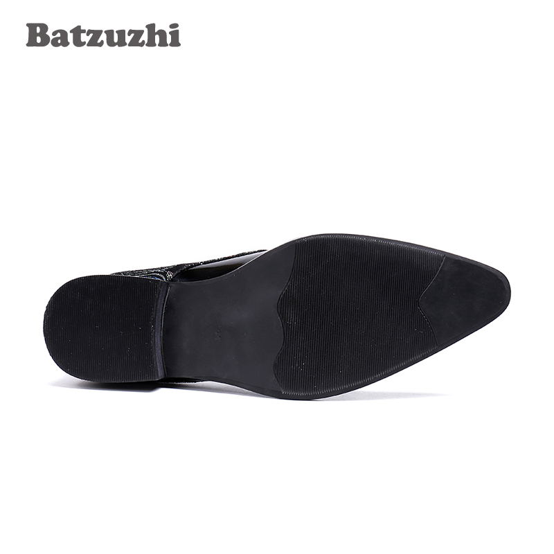 Genuinos Moda Hombres Batzuzhi Zapatos Punta Negocios Metal De Formal Lujo 46 Los Negro Marca Cuero wqq1Hx0v