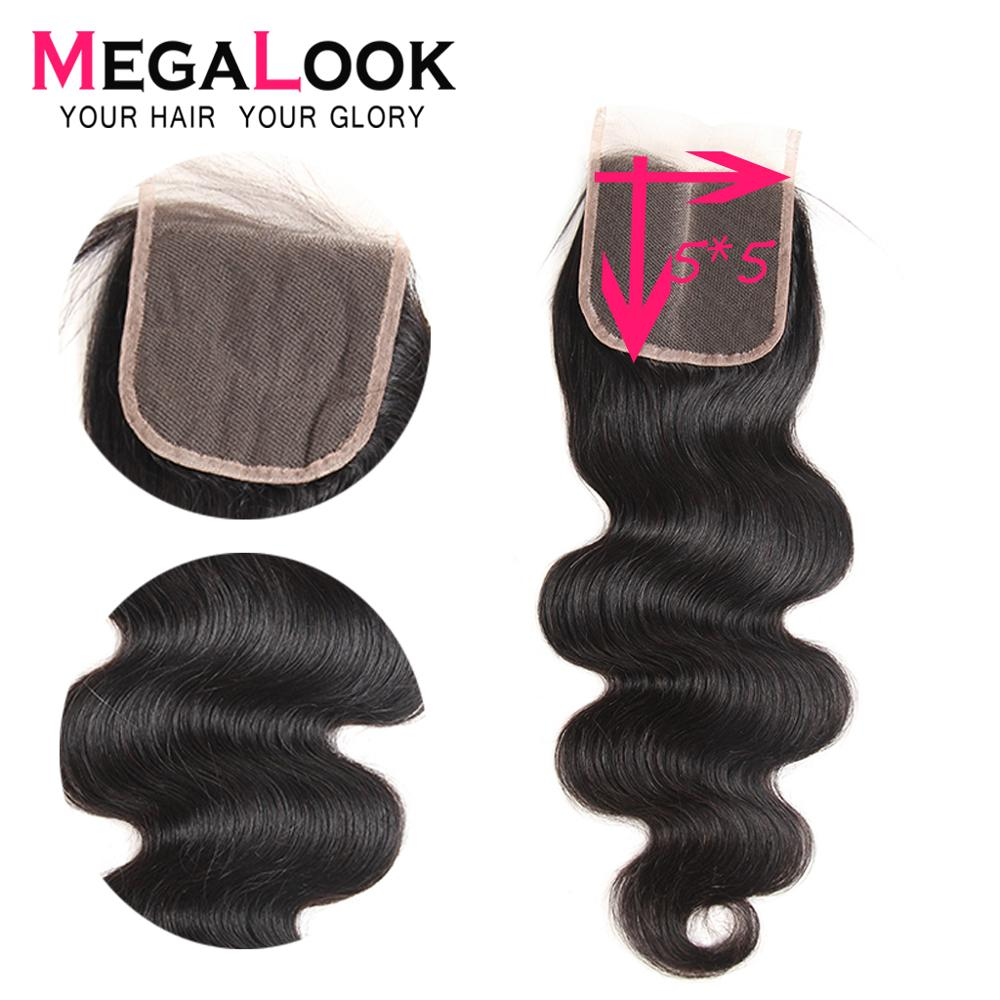 Peruvian Closure Human Hair Bodywave Closure Remy Lace Closure With Baby Hair Megalook Hair 5x5 6x6 7x7