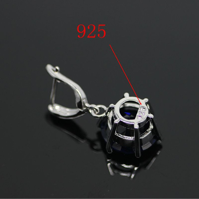 925 Sterling Silver Blue Sapphire Topaz Fine Jewelry Set