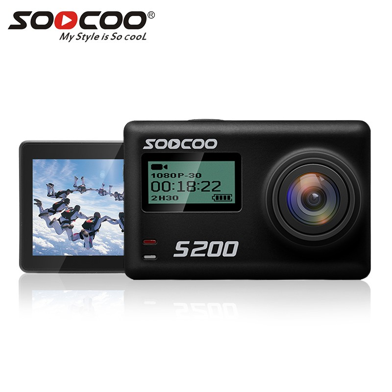 SOOCOO S200 Sports Action Camera Ultra HD 4K with WiFi Gryo Voice Control External Mic GPS 2.45 Touch LCD Screen проектор k mic led wifi 1080p 3d