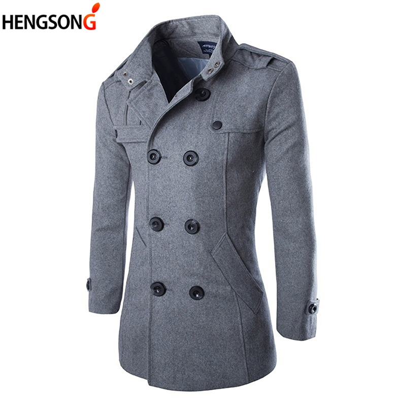 2017 Autumn Winter Men's Jackets Fashion Casual Blend Jacket Men Woolen Coat Double Breasted  Outerwear Coat Male Black  3XL