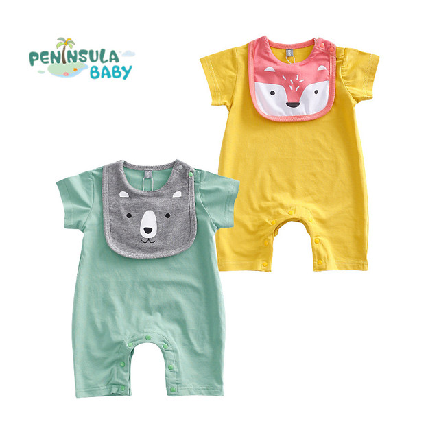 787d152a1 Newborn Rompers Funny Cartoon Baby Boys Girls Clothes With Bibs ...