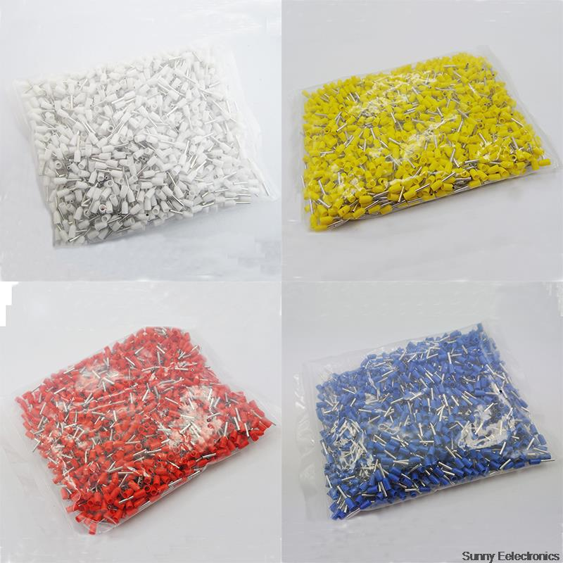4000pcs 18 AWG Insulated Copper Crimp Connector E1008 Insulated Cord End Terminal Wire Ferrules Red Blue Yellow Black pz0 5 16 0 5 16mm2 crimping tool bootlace ferrule crimper and 1k 12 awg en4012 bare bootlace wire ferrules