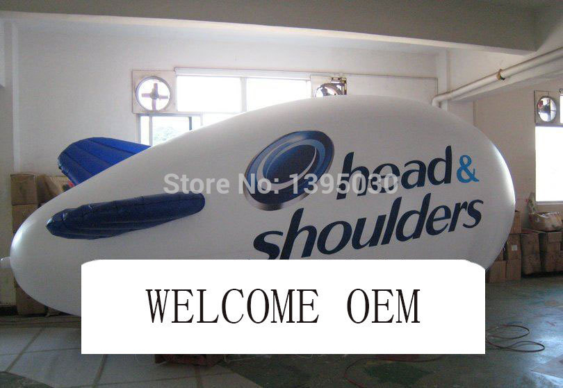 Express Delivery 4 Meters Long Inflatable Advertising Blimp Airship Zeppeline Custom Different LOGO