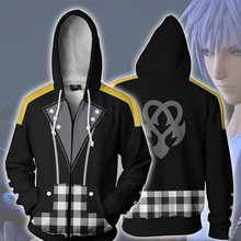 Game Kingdom Hearts Riku Keyblade Cosplay Costume Anime Hoodie Sora Sweatshirts Clothing Zipper