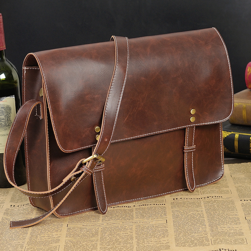Crazy Horse Leather Men Bag leather handbag laptop men s briefcase tote men messenger bags shoulder