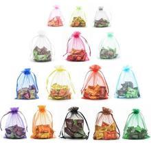 100 Pcs Multiple Sizes Organza Bag Wedding Christmas Candy Gift Jewelry Drawstring Packaging Bundle
