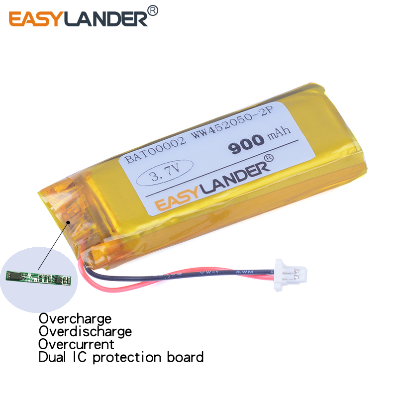 WW452050-2P  3.7V 900mAh Li-Polymer Battery For Cardo Rider G9  G9x G4  Earphone Wireless Headphones ZN452050PC-1S2P