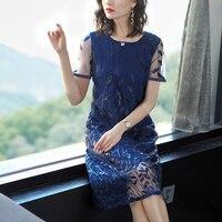 Navy blue dress women shirt dresses woman party night 2019 summer plus size elegant vintage vestido robe floral print clothing