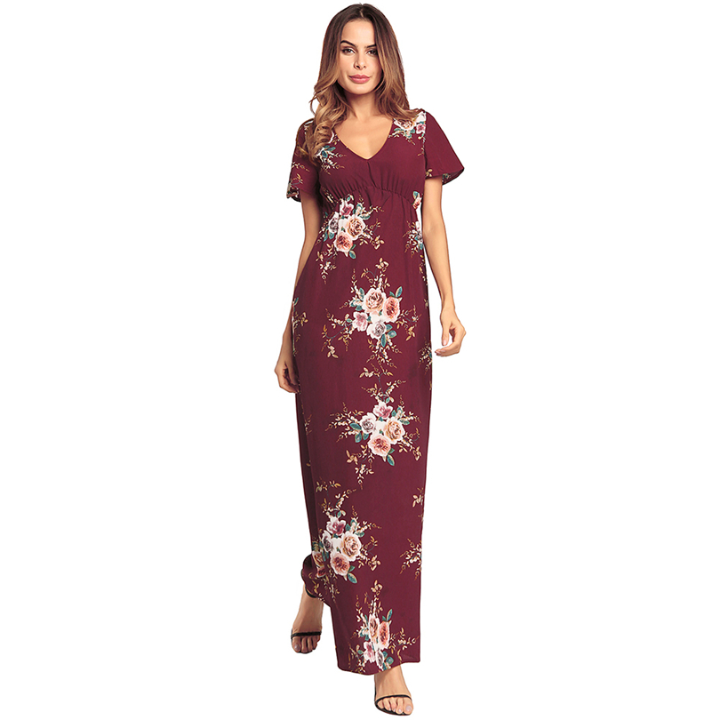 c0a759d81b4ca US $38.88 |Free Shipping! Newest Beautiful Graceful Colourful Flower Print  Sexy V Neck Lady Summer Maxi Dress-in Dresses from Women's Clothing on ...